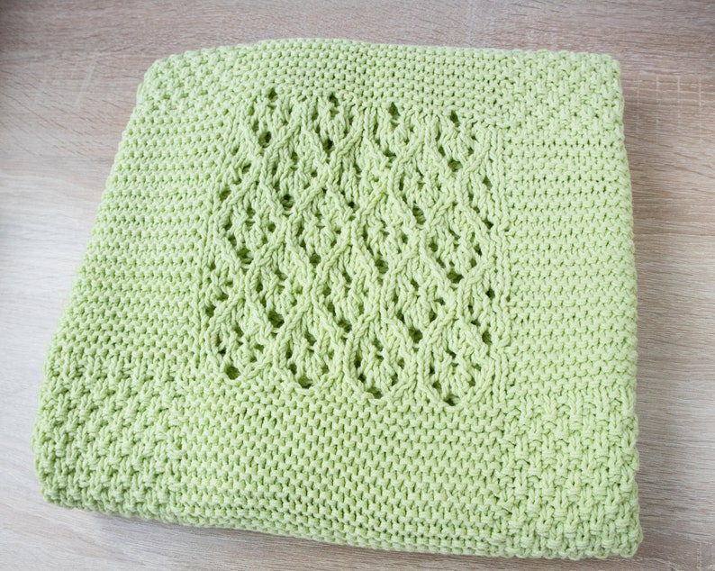 Knitted Baby Blanket Baby Green Blanket For Sale Hand Knit Etsy
