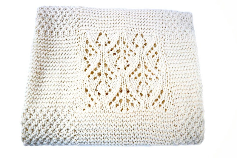 Knitted Baby Blanket Baby Ivory Blanket For Sale Hand Knit Etsy
