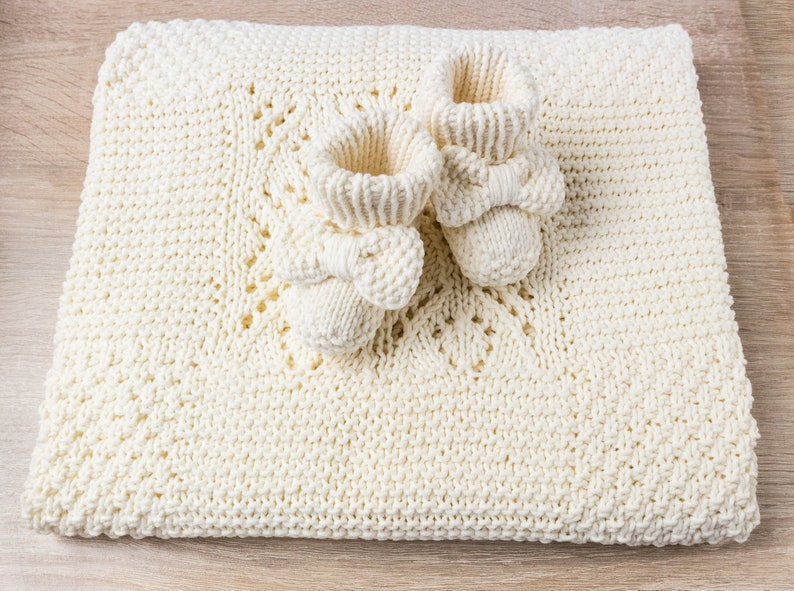 Hand Knit Baby Blanket And Knitted Baby Booties Baby Girl Set Etsy