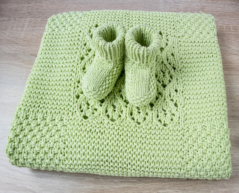 Baby Set Knitted Baby Blanket Knitted Baby Booties Hand Knit Etsy