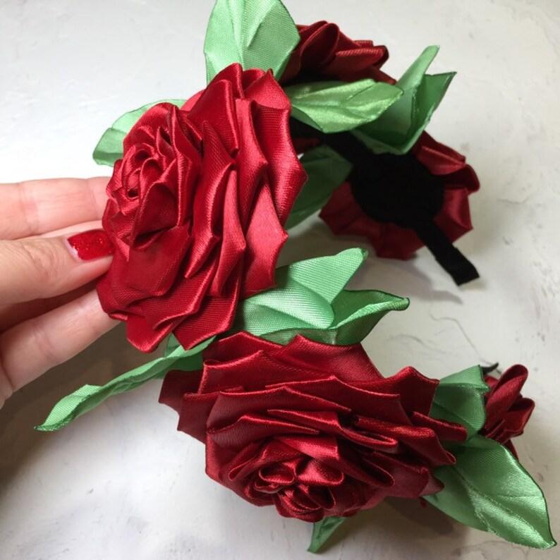 Mexico red roses hair hoop. Frida  flower headband