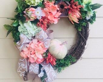 Front door wreath, door wreath, summer wreath, fall wreath, door wreath, bird house wreath