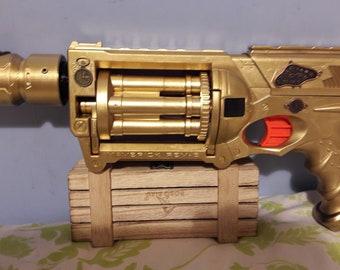 Nerf Maverick  Steampunk themed Golden time pistol
