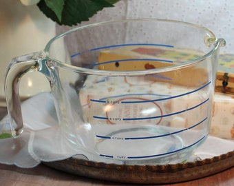 Vintage Pyrex Corning 8 cup measuring cup.  Blue lines and lettering