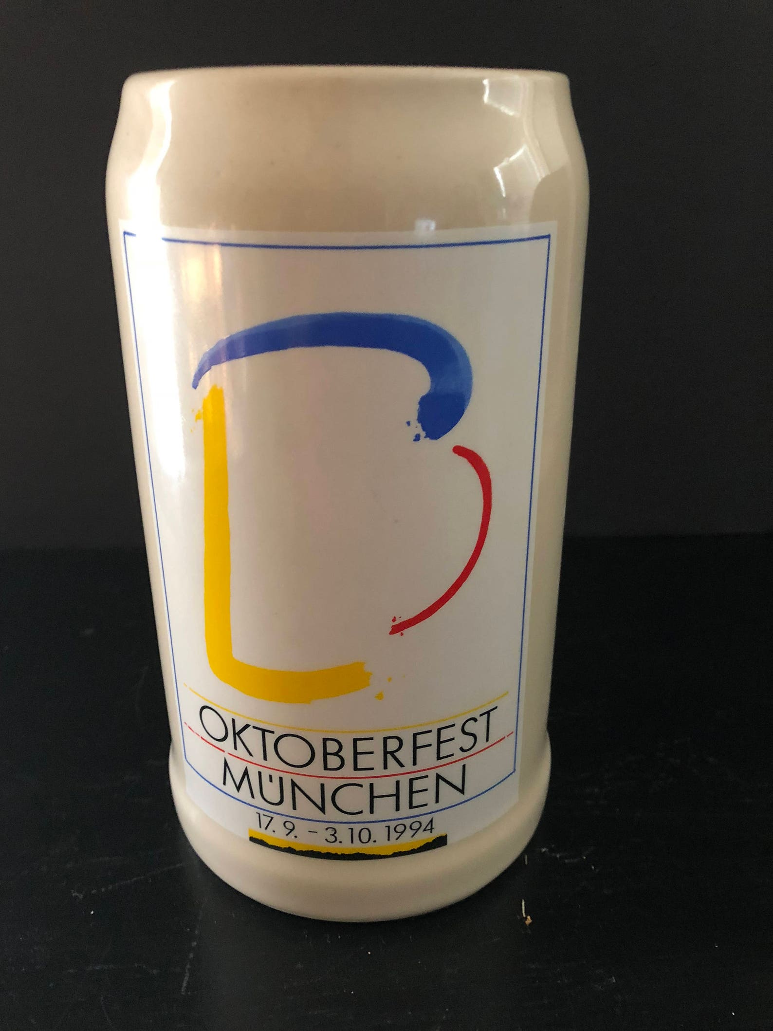 Vintage Oktoberfest Munchen beer stein, stamped and signed