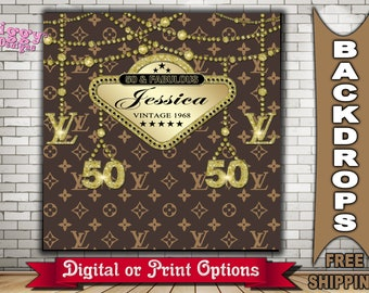 Louis Vuitton Inspired Theme Party Banner Backdrop Personalize 50th Birthday