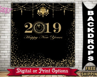 new years eve party photo booth backdrop black and faux gold backdrop 2019 backdrop happy new year party banner new years banner