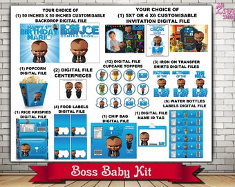 Boss Baby Party Kit African American,  The Baby Boss Kit , Boss Baby  Birthday kit, Boss Baby Baby shower Kit