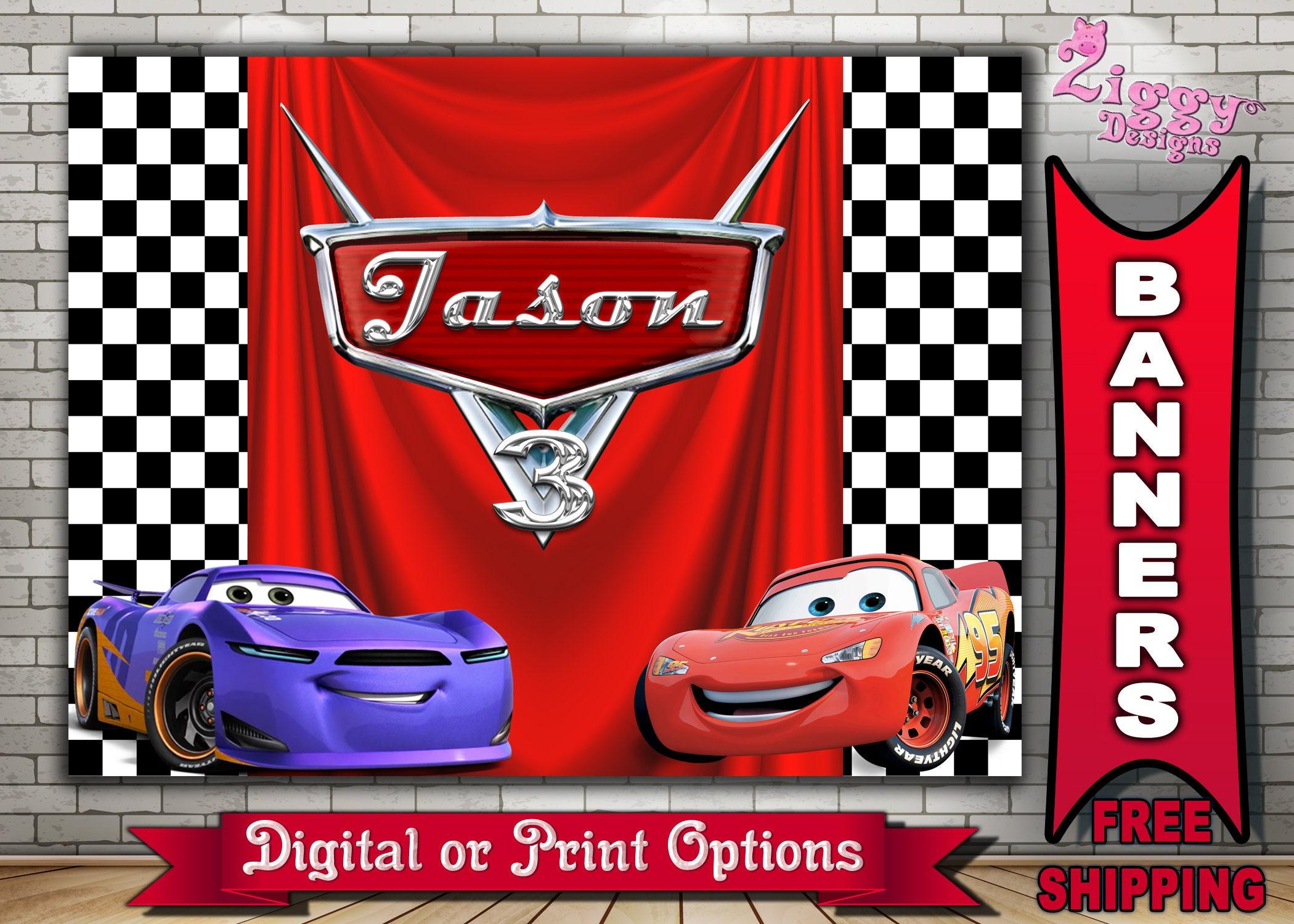 Disney Cars Banner Cars Backdrop Cars Birthday Banner Cars