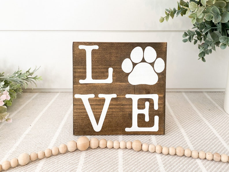 Love Paw Print Wood Sign