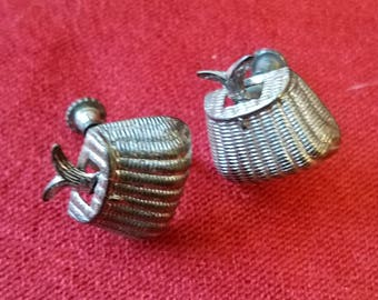 Antique fly fishing fish in basket earings