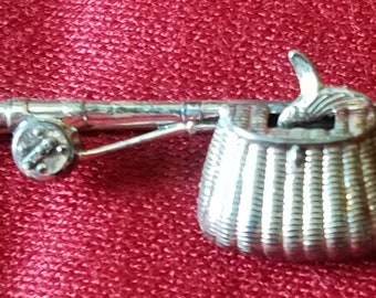 Antique sterling silver fishing pin