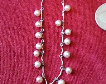 vintage sterling silver and pearl accent necklace