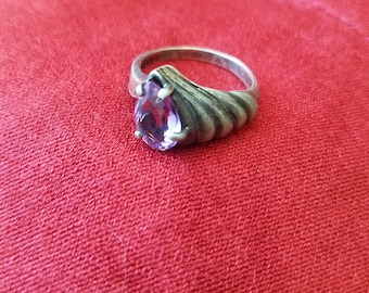 Sterling silver ring purple setting