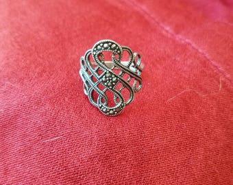 Ornate sterling silver ring
