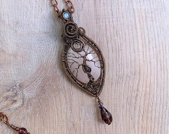 Tree of Life Pendant - Rose Quartz and Antiqued Copper with Moonstone and Czech Glass