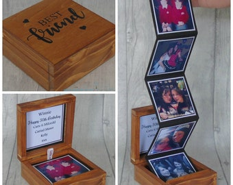 Made To Order Personalised Wood Photo Box Keepsake Birthday Gift Best Friend Memory