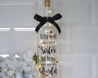 Sister Light Bottle Gift Birthday Personalised Wine Gifts