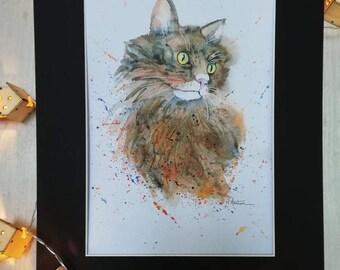 Autumn watercolor cat, professional print, A4 poster