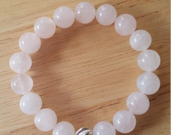 Rose Quartz Gemstone Bracelet with Karen Hill Tribe Sterling Silver bead