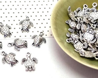Pack of 20 Silver Tibetan Metal Charms,Pendants,Sea,Nautical,Summer TURTLE