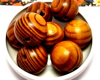 8 Brown Wood Beads - Burlywood Beads - Wooden Beads - Large Hole Wood Bead - Macrame Beads - Round Wood Beads - Beads with Large Hole - 28mm