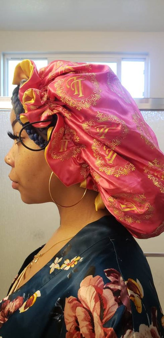 Reversable Sachi hair bonnet pink and yellow gold
