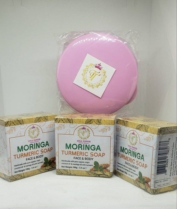 Moringa Turmeric Soap 3 piece with free soap dish