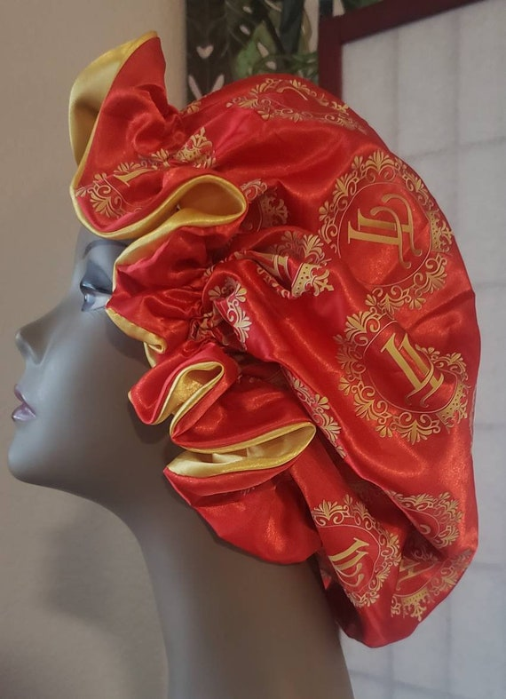 Reversable Sachi hair bonnet  red and gold