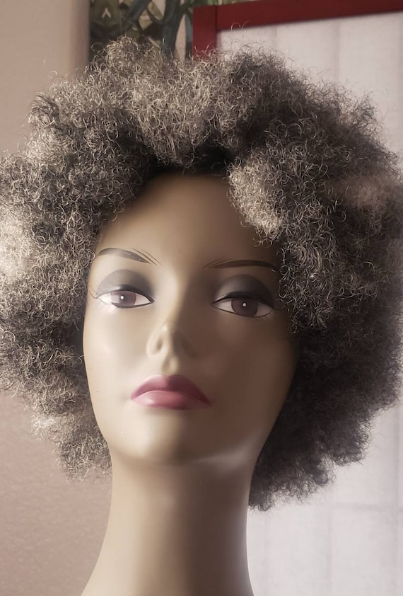Short afro wig . Natural and kinky.  Grey black mix with white