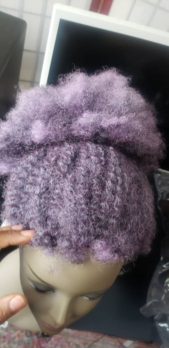 Front wig afro  updo purple