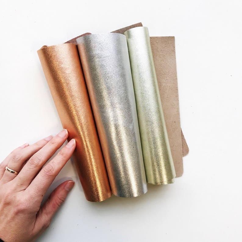 Metallic Leather Sheets // 8x10 Leather Piece // Gold image 0