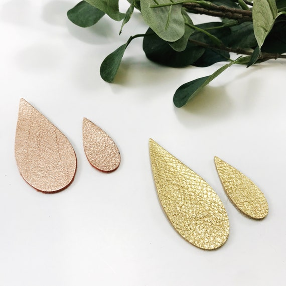 Narrow NEW Leather Pinch Teardrop Pinched Style DIY Leather Earring Supply Metallic Colored Pointed Elongated Teardrop Leaf Shape Long