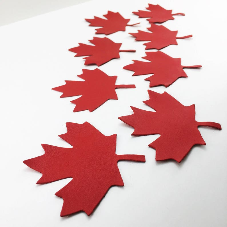 Maple Leaf Leather Applique 3 Sizes Die Cut Leather Canada image 0