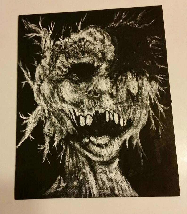 scary stories to tell in the dark tribute art replica acrylic painting  Stephen gammell creepy black white sketch horror dark creature goth