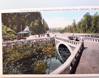 Vintage Postcard Oregon Multnomah Falls Columbia River Highway 1930's