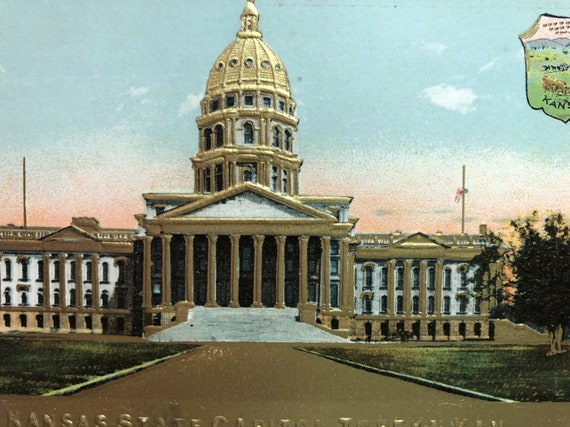 Vintage Postcard Topeka Kansas State Capitol Building Embossed in Gold with  State Coat of Arms KS