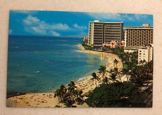 Vintage Postcard Hawaii Waikiki Beach Hotels Kalakaua Ave Hawaiian Postcard