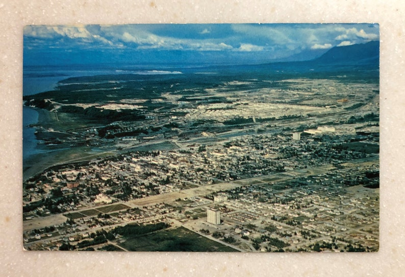 c397cdf814d Vintage Postcard Anchorage Alaska Aerial View