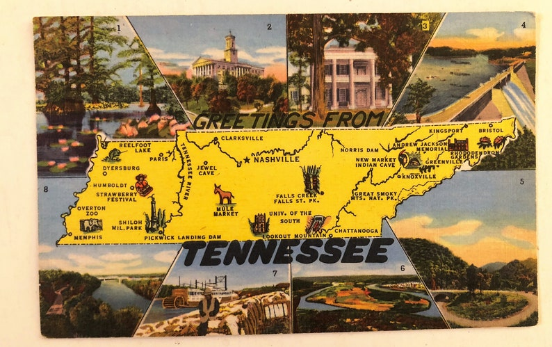 Vintage Postcard Tennessee State Map Greetings from TN Linen 1959