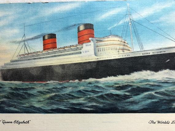 9fad9c32bc55 Vintage Postcard RMS Queen Elizabeth Cruise Ship Cunard 1956
