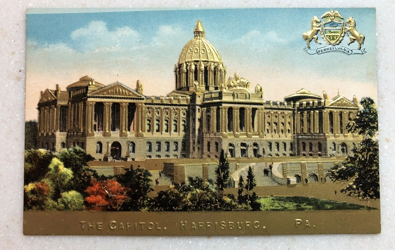 Vintage Postcard Harrisburg PA State Capitol Building Embossed in Gold with  State Coat of Arms Pennsylvania