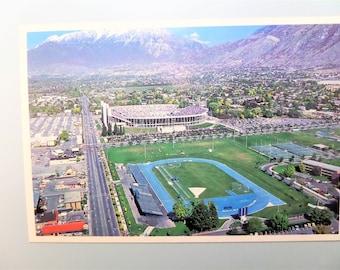 Vintage Postcard Provo Utah B.Y.U Track and Football Stadium Brigham Young University