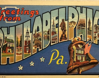 Vintage Postcard Greetings from Philadelphia PA Philly Postcard