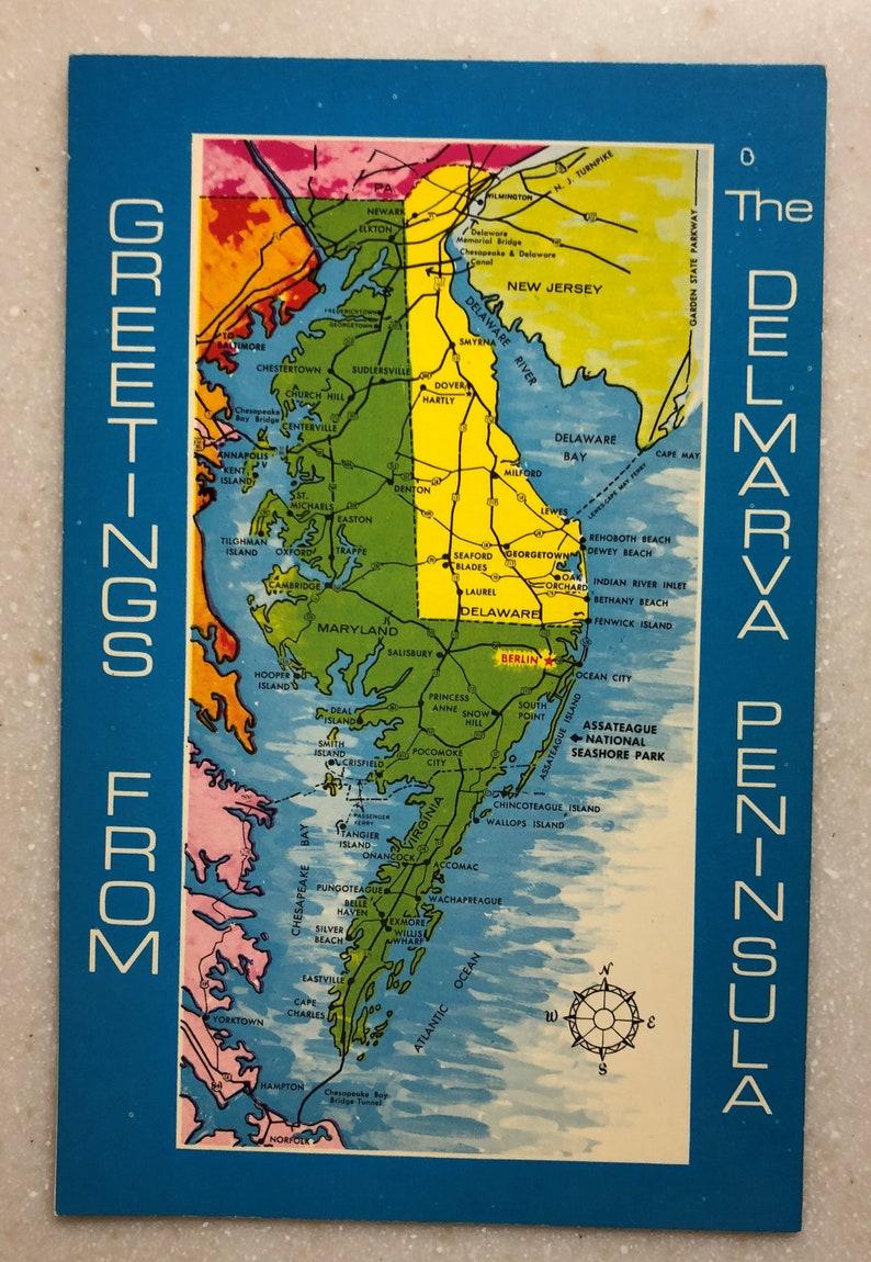 Vintage DelMarVA Map Postcard Del Mar Va Peninsula DE MD VA | Etsy on