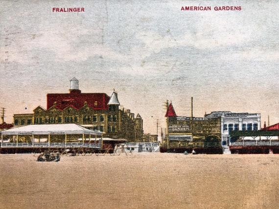 Vintage Postcard Atlantic City Nj Fralinger American Gardens Etsy