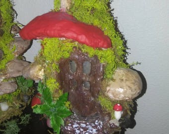 Mossy Tree Stump Fairy House Lamp-OOAK