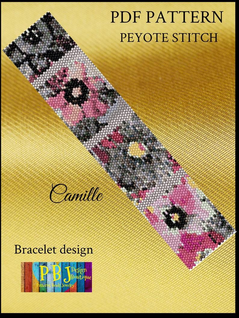 peyote stitch peyote pattern seed bead graph peyote bracelet peyote beading Delica pattern instant download Camille Peyote Pattern