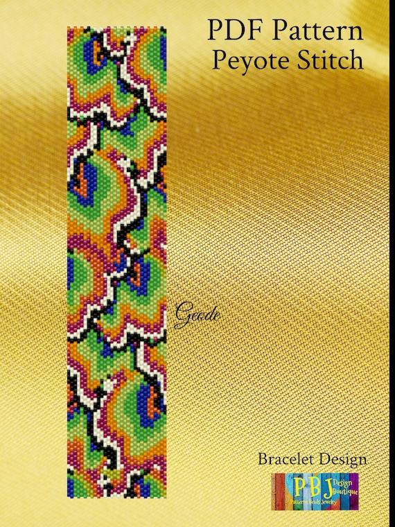 Geode Peyote Pattern PDF peyote bracelet cuff bracelet jewelry making printmaking beaded bracelet bracelet design Peyote Pattern