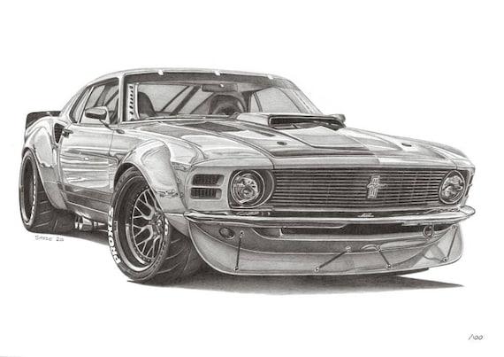 original pencil drawing print Vintage racer one off artwork